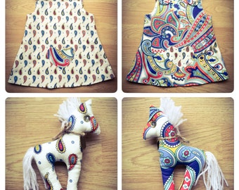 Handmade Reversable Blue Paisley girl's dress New Born - 4-5 years with Horse
