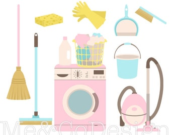 Cleaning Day Clipart, Fun Pretty Clipart, Retro, Laundry Instant Download, Personal and Commercial Use Clipart, Digital Clip Art