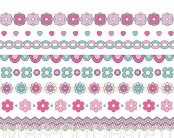 Borders Clipart, Flower Pattern Clipart, Scrapbooking Design Element Instant Download, Personal and Commercial Use Clipart, Digital Clip Art