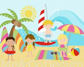 Beach Clipart, Fun Cute Clipart, Swim Suit, Boy and Girl Summer Fun Instant Download, Personal and Commercial Use Clipart, Digital Clip Art