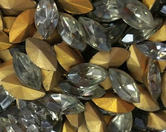 Vintage Rhinestone Glass Navette Black Diamond Jewel Czech 10x5 mm (6 pces)