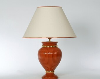 Terracotta ceramic table lamp with gold, H. 56 cm