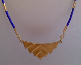 Necklace pendant golden brass and pearls miyuki blue king