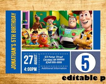 Toy Story Invitation - EDITABLE TEXT - Customizable Toy Story Birthday invitation - Instant Download
