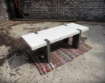 Concrete Recycled Glass Coffee Table   Wood Frame   Furniture   Home Decor    DUNCAN