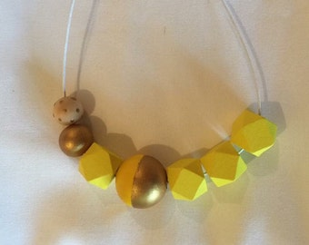 Wooden Bead necklace // Hand painted in neon yellow