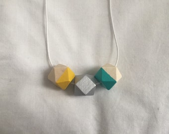 Wooden bead necklace // turquoise, silver and yellow // hand painted