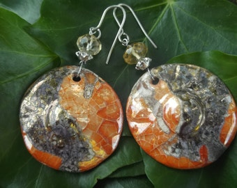 ceramic and quartz earrings citrine