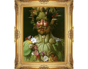 Canvas Painting Reproduction Vertumnus Giuseppe Arcimboldo Framed Wall Art Print Realism - Sizes Small to Large - M00521
