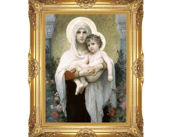 Canvas Wall Art Madonna of the Roses William Bouguereau Christian Framed Religious Print Painting Reproduction Sizes Small to Large M000620