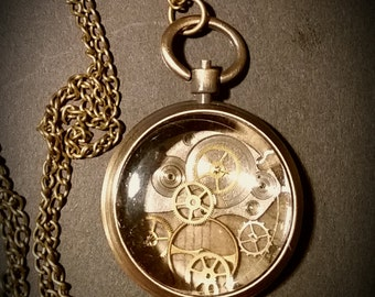 handmade steam punk inspired pocket watch pendant