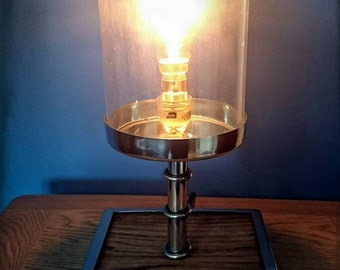 Industrial steampunk glass iron barrel lamp