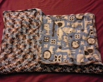 Handmade crochet Fleece lined  blankets
