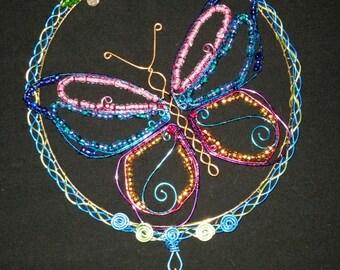 Butterfly / Sun Catcher / Suncatcher / Wall Decor / Home Decor / Wire / Beaded / Window Art / Wire Wrapped / Glass Bead