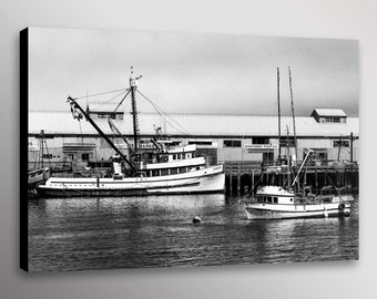 """Monterey Bay Fishing Boats Canery Black and White Photo Print Wall Art Canvas 12""""x18 16""""x24"""" 20""""x30"""" 24""""x36"""" or 32""""x48"""""""