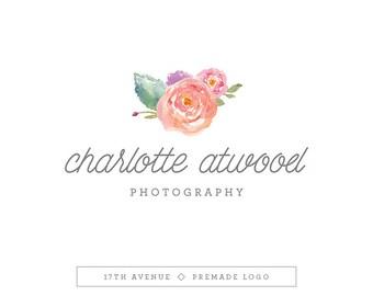 "Premade Logo Design - Watercolor Flowers Logo - Photography Logo - Boutique Logo - Small Business Logo - ""Charlotte"" Deluxe"
