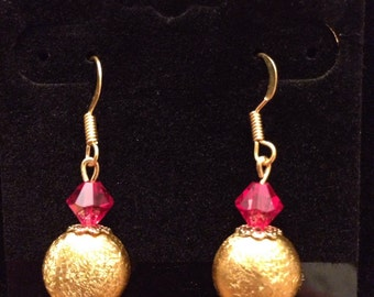 Shimmery gold with ruby crystal bead dropletts