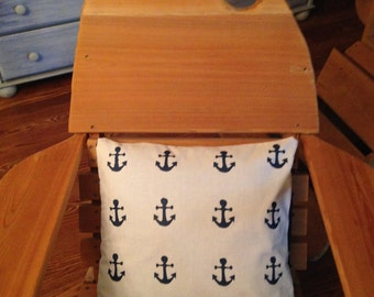 "Hand Painted Anchors Decorative Pillow Case 18""x18"""