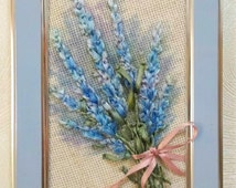 """embroidered miniature painting """"Bouquet of lavender"""""""