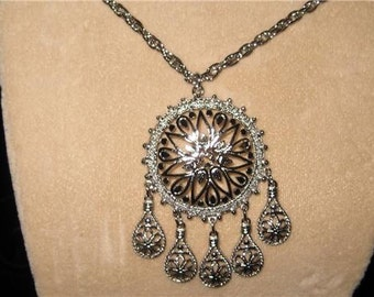 Intricate Silver Medallion>> Asian inspired> vintage 1960's, new old stock>> BEAUTIFUL