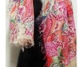 Womens Fashion Scarves - Floral Printed Scarf -  Made in italy - Oversized Scarf - italian Modal Scarf - Shawls Wraps - Silk Scarf - Scarves