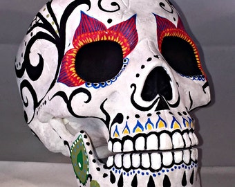Day of the Dead plastic skull - Mexican Sugar Skull Dia de los Muertos Style - Articulated Jaw - Custom Painted - One of a kind!