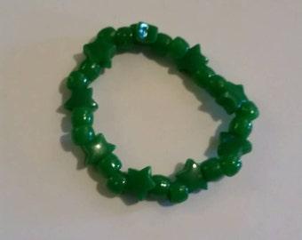 Dark green stars kandi bracelet