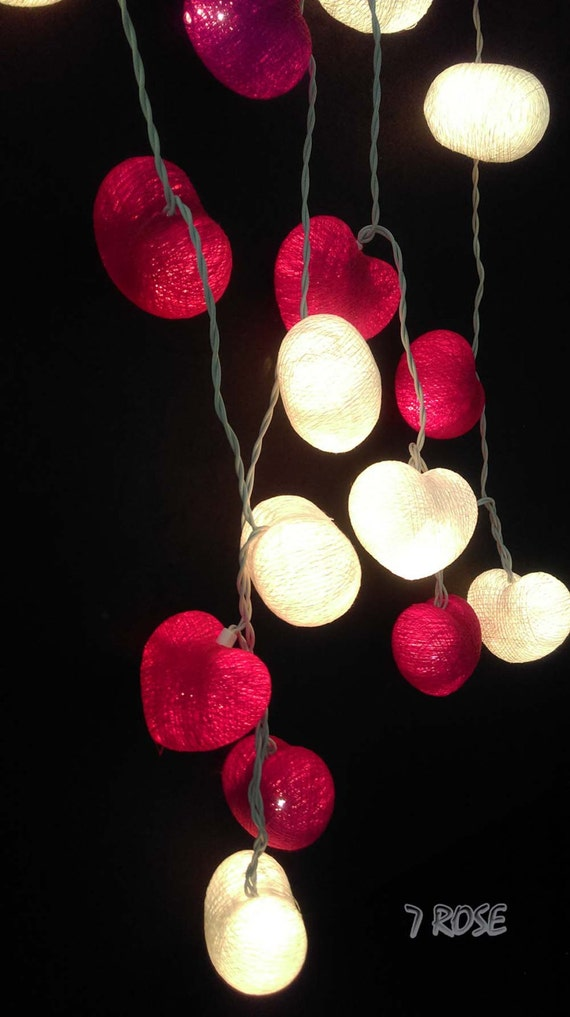 Heart String Lights Red : Red and white Heart Cotton Ball String lights Party Decor Wedding,Bedroom,Patio Home Decoration.