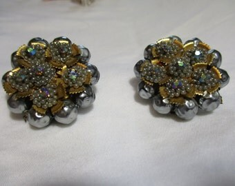 Art Deco Vintage Beaded Earrings Powder Blue and Gold