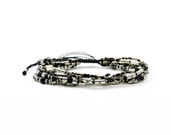 Chan luu style Natural black agate fashion wrap bracelets hand-woven Japanese miyuki beads