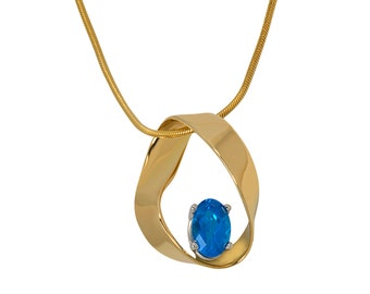 Mobius strip pendant etsy mobius strip 14k yellow gold platinum and blue apatite pendant mozeypictures Image collections