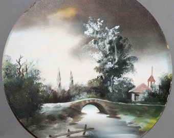 Vintage snowy winter landscape oil painting on wood plate