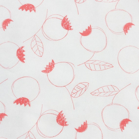 Umbrella Prints - Flowers - Rosehip in Coral - Organic Cotton