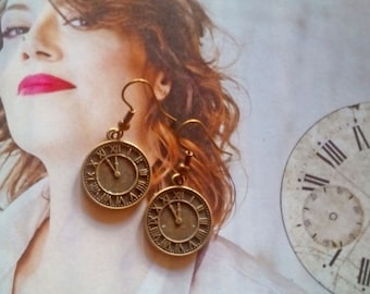 5 minutes to midnight earrings handmade - FREE SHIPPING