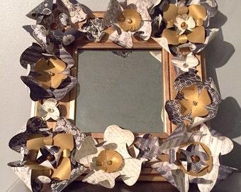 Paper Flower Mirror | Hand-Made Flowers | Black, White, & Gold Decor | 10 x 10 Gold Framed Mirror