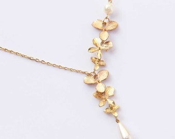 Lariat Asymmetry Cascading Orchid Flower Pendant Geometry Gold Tone Necklace
