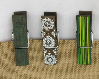 Decorative magnetic clothespins, refrigerator magnet, locker magnet, back to school, locker accessory, set of 3 magnets
