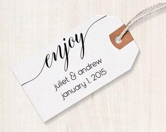 Enjoy Rubber Stamp - Enjoy Favor Stamp, DIY Wedding Stamp, Enjoy Wedding Stamp, Enjoy Favor Stamp