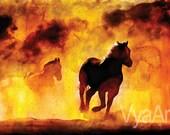 Giclee HORSE PAINTING Giclée Print horse art equestrian decor horse wall art farm decor barn art horse Print Horse Running Equine Large Art