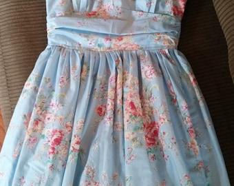 Blue Floral Print Halter Dress