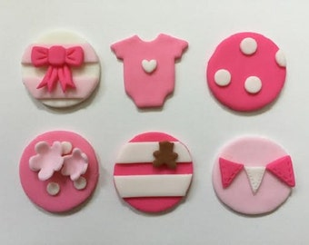 12 Baby Shower Girl Cupcake Toppers-Fondant
