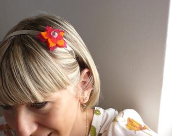 Flower hairband || hair band || bijoux de tete || orange pink flower || head band || headband || changeble || interchangeable flower