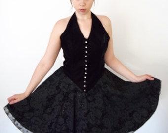 Vintage 90s De Laru Black Velvet Halter Dress