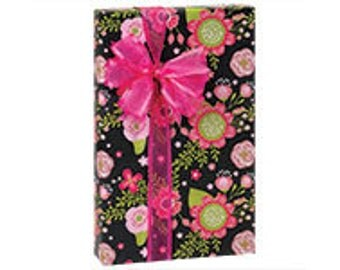 """Chalk Flowers 24""""x85' Recycled Gift Wrap, Packaging, Retail, Weddings Wrapping Paper Roll"""