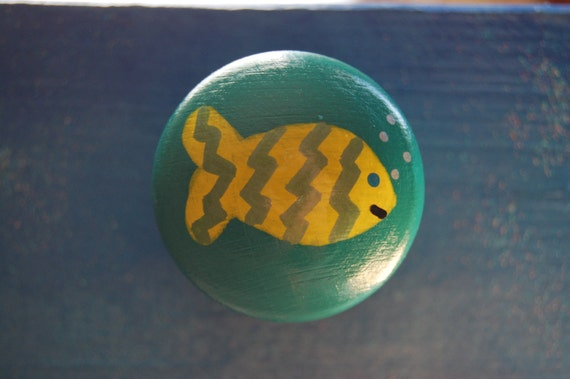 Yellow Fish Drawer Knob, Cupboard Handle Hand Painted Three Sizes Available 30mm, 40mm, 53mm