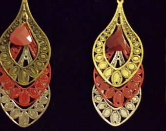 3 Tier Earrings with Pendant