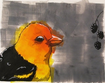 Mixed Media Painting, Bird Eating Berries