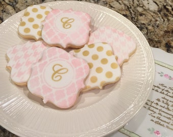 2 doz Monogram pink and gold cookies