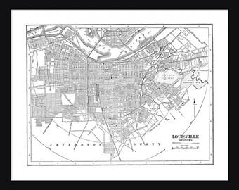 Louisville Vintage Map - Louisville - White - Print - Poster
