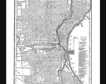 Milwaukee Vintage Map - Milwaukee - White - Print - Poster